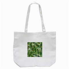 Peacock Feathers Pattern Tote Bag (white)