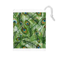 Peacock Feathers Pattern Drawstring Pouches (large)