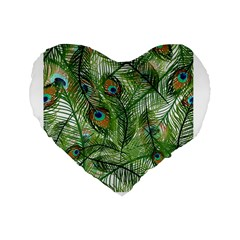 Peacock Feathers Pattern Standard 16  Premium Flano Heart Shape Cushions