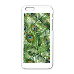 Peacock Feathers Pattern Apple Iphone 6/6s White Enamel Case