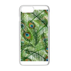 Peacock Feathers Pattern Apple Iphone 7 Plus White Seamless Case