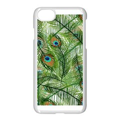 Peacock Feathers Pattern Apple Iphone 7 Seamless Case (white)