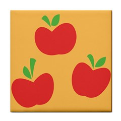 Apple Fruit Red Orange Tile Coasters
