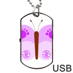 Butterfly Flower Valentine Animals Purple Brown Dog Tag Usb Flash (one Side) by Alisyart