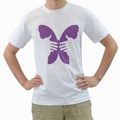 Colorful Butterfly Hand Purple Animals Men s T Shirt (white) (two Sided)