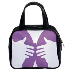 Colorful Butterfly Hand Purple Animals Classic Handbags (2 Sides) by Alisyart