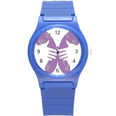 Colorful Butterfly Hand Purple Animals Round Plastic Sport Watch (s)