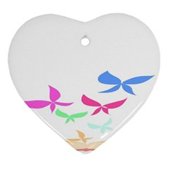 Colorful Butterfly Blue Red Pink Brown Fly Leaf Animals Ornament (heart)
