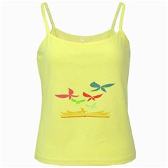 Colorful Butterfly Blue Red Pink Brown Fly Leaf Animals Yellow Spaghetti Tank