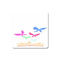 Colorful Butterfly Blue Red Pink Brown Fly Leaf Animals Square Magnet