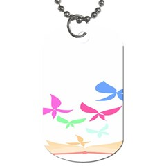 Colorful Butterfly Blue Red Pink Brown Fly Leaf Animals Dog Tag (two Sides) by Alisyart