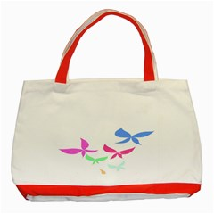Colorful Butterfly Blue Red Pink Brown Fly Leaf Animals Classic Tote Bag (red) by Alisyart
