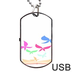 Colorful Butterfly Blue Red Pink Brown Fly Leaf Animals Dog Tag Usb Flash (two Sides) by Alisyart