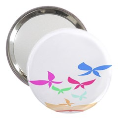 Colorful Butterfly Blue Red Pink Brown Fly Leaf Animals 3  Handbag Mirrors