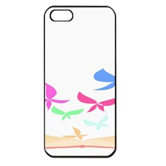 Colorful Butterfly Blue Red Pink Brown Fly Leaf Animals Apple Iphone 5 Seamless Case (black)