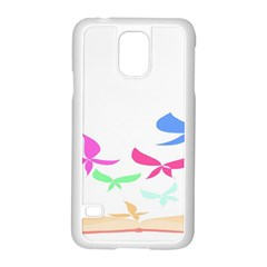 Colorful Butterfly Blue Red Pink Brown Fly Leaf Animals Samsung Galaxy S5 Case (white)