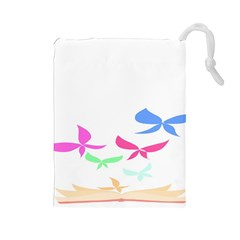 Colorful Butterfly Blue Red Pink Brown Fly Leaf Animals Drawstring Pouches (large)  by Alisyart