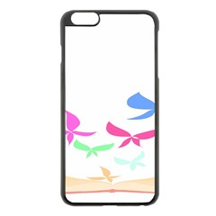 Colorful Butterfly Blue Red Pink Brown Fly Leaf Animals Apple Iphone 6 Plus/6s Plus Black Enamel Case