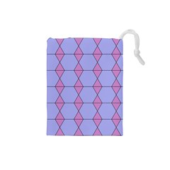 Demiregular Purple Line Triangle Drawstring Pouches (small)