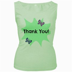 Colorful Butterfly Thank You Animals Fly White Green Women s Green Tank Top
