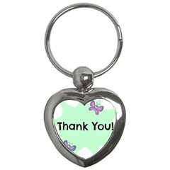 Colorful Butterfly Thank You Animals Fly White Green Key Chains (heart)  by Alisyart