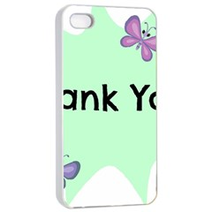 Colorful Butterfly Thank You Animals Fly White Green Apple Iphone 4/4s Seamless Case (white)