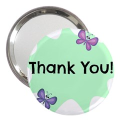 Colorful Butterfly Thank You Animals Fly White Green 3  Handbag Mirrors