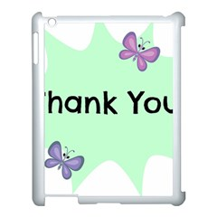 Colorful Butterfly Thank You Animals Fly White Green Apple Ipad 3/4 Case (white)