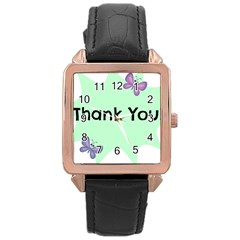 Colorful Butterfly Thank You Animals Fly White Green Rose Gold Leather Watch