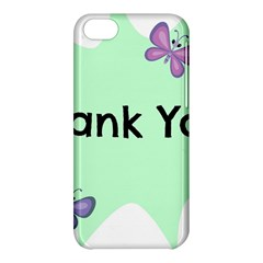 Colorful Butterfly Thank You Animals Fly White Green Apple Iphone 5c Hardshell Case