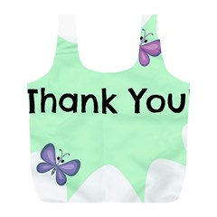 Colorful Butterfly Thank You Animals Fly White Green Full Print Recycle Bags (l)