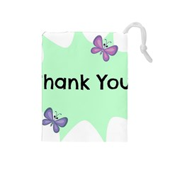 Colorful Butterfly Thank You Animals Fly White Green Drawstring Pouches (medium)