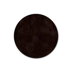 Bear Skin Animal Texture Brown Rubber Round Coaster (4 Pack)