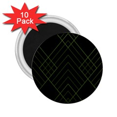 Diamond Green Triangle Line Black Chevron Wave 2 25  Magnets (10 Pack)