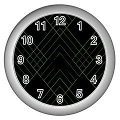 Diamond Green Triangle Line Black Chevron Wave Wall Clocks (silver)  by Alisyart