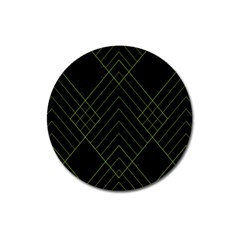 Diamond Green Triangle Line Black Chevron Wave Magnet 3  (round)
