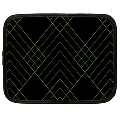 Diamond Green Triangle Line Black Chevron Wave Netbook Case (large) by Alisyart
