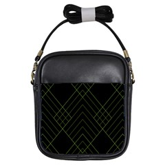 Diamond Green Triangle Line Black Chevron Wave Girls Sling Bags by Alisyart