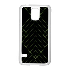 Diamond Green Triangle Line Black Chevron Wave Samsung Galaxy S5 Case (white)