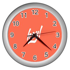 Hey White Text Orange Sign Wall Clocks (silver)