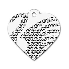 Honeycomb Swan Animals Black White Plaid Dog Tag Heart (one Side)