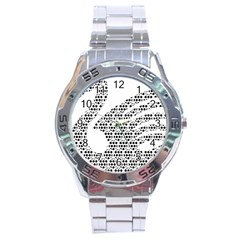 Honeycomb Swan Animals Black White Plaid Stainless Steel Analogue Watch