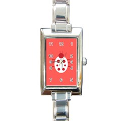 Little Butterfly Illustrations Beetle Red White Animals Rectangle Italian Charm Watch
