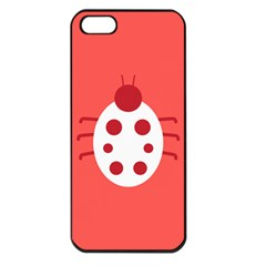 Little Butterfly Illustrations Beetle Red White Animals Apple Iphone 5 Seamless Case (black)