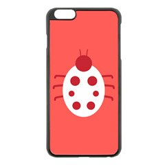 Little Butterfly Illustrations Beetle Red White Animals Apple Iphone 6 Plus/6s Plus Black Enamel Case