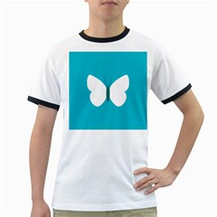 Little Butterfly Illustrations Animals Blue White Fly Ringer T Shirts