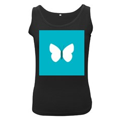 Little Butterfly Illustrations Animals Blue White Fly Women s Black Tank Top