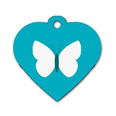 Little Butterfly Illustrations Animals Blue White Fly Dog Tag Heart (two Sides)