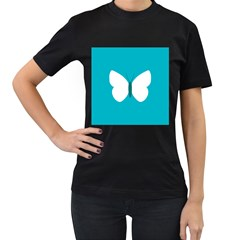 Little Butterfly Illustrations Animals Blue White Fly Women s T Shirt (black)