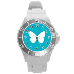 Little Butterfly Illustrations Animals Blue White Fly Round Plastic Sport Watch (l) by Alisyart